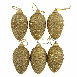 Set of 30 pieces Mini Lovely Foam Gold Pine Cones Decorative Hanging Christmas Tree Ornaments