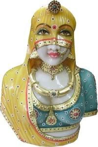 18 inch Marble Rajasthani Lady Statue