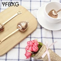 Rose Gold Tea Infuser Wedding Favor Copper Heart Shape