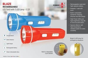 Rechargeable Led Torch With 3 Led Lamp