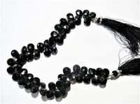 Black Spinel Faceted Gemstone Briolet Beads