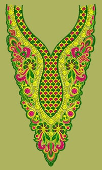 Dress Embroidery Design - Neck, Yoke, Gala