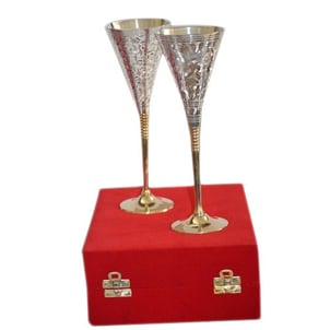 Silver Plated Brass Wine Goblets