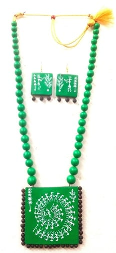 Handcrafted Terracotta Necklace Exclusive WARLI Design An Earthy pendant set