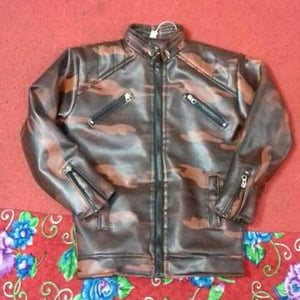 Full Sleeves Printed Design Kids Leather Jackets