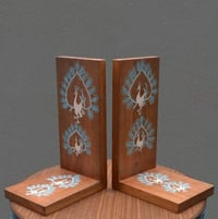 2 Pcs Wood Bookends Hand Crafted Warli Art For Book Stand