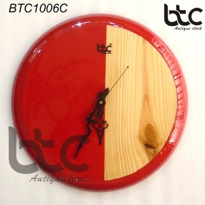 Wooden Round Natural Wood And Red Wall Clock