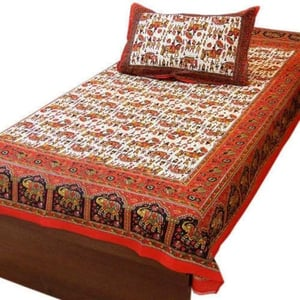 Cotton And Linen Chikan Mirror Bed Sheet