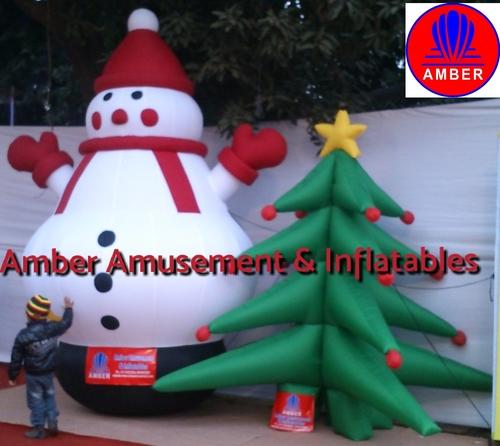 Christmas Tree Inflatables.Inflatable Snow Man And Christmas Tree Amber Amusement