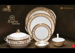 White and Golden Printed Crockery Sets
