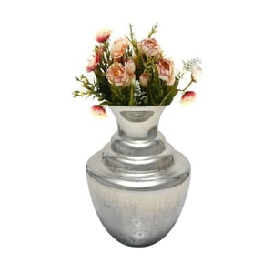 Fluted Silver On Stone Glass Flower Vase