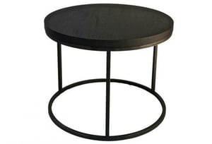 Round Wooden Table With Iron Base