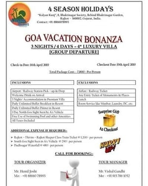 Goa Holiday Packages Services