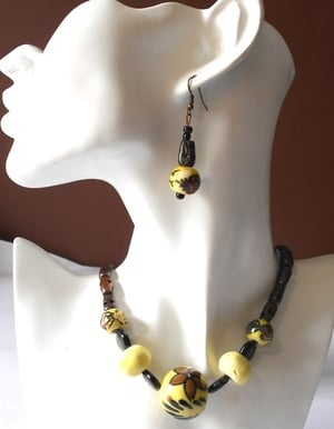Ceramic Beaded Necklace Set With Matching Ear Danglers