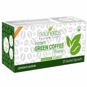 Instant Green Coffee Premix with Lemon Flavour for Weight Management (20+5 Sachet), Each 3g
