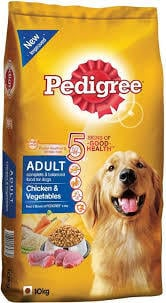 Dry Dog Food Chicken and Vegetables for Adult Dogs - 10 kg (Pedigree)