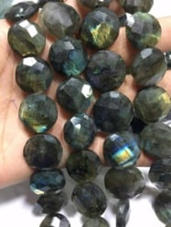 Labradorite Flat Coin Shaped Faceted Beads