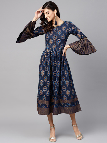 Washable Women Navy Blue Printed Midi A-Line Dress