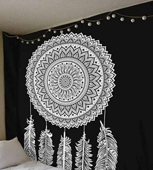 Dream Catcher Design Black And White Color Indian Cotton Tapestry