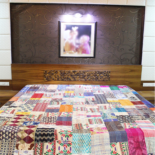 Handmade Indian 100% Cotton Bedsheet Ethnic Printed Designer Kantha Thread Work Patch Work Bedsheet