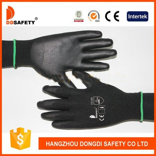 DDSAFETY Black Nylon Coated Grey Pu Work Gloves EN388