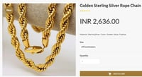 Golden Sterling Silver Rope Chain