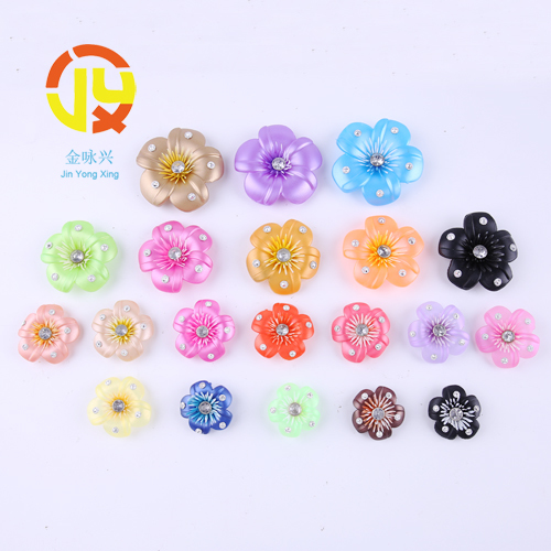 PVC Flower With Rhinestone For Shoe Decoration
