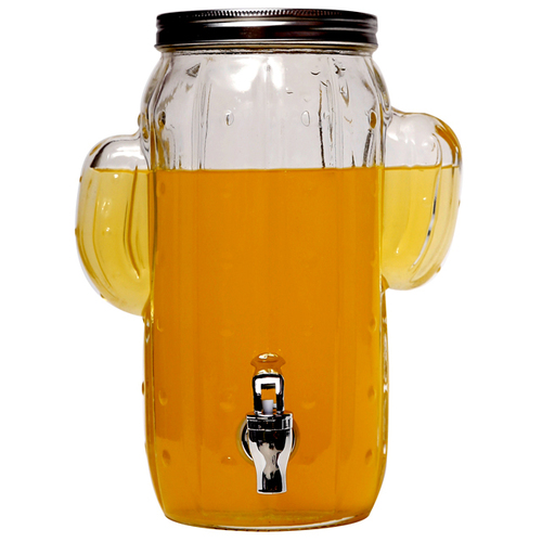 Glass Beverage Dispenser With Lid And Tap