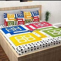 Double Bed Ludo Print Bedsheets