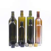 500ml Dark Green And Clear Square Glass Olive Oil Bottle