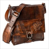 Embossed Leather Messenger Bag