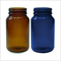 Wide Mouth Amber & Blue Glass Bottles