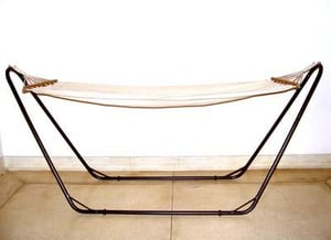 Fabric Hammock With Brown Stand