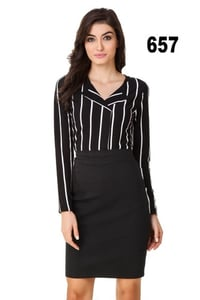 Black And White Striped Formal Women Shirt