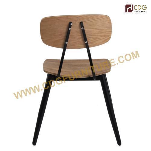 Black Modern Metal Bent Wooden Study Chair