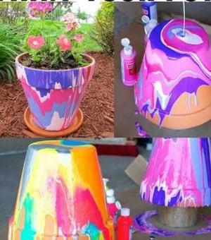 Painted Clay Flowers Pot
