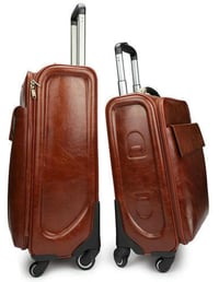 Brown Color Leather Trolley Bags