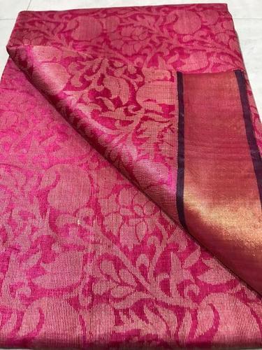 Pure Silk Handloom Full Jari (Real Gold Metal Jari Used) Jala Saree ,Contrast Plain Blouse With Border