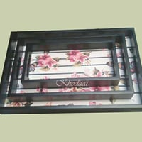 Flower Printed Wooden Tray