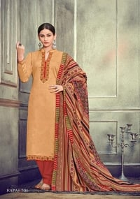 Satin Cotton Negative Print With Kashmiri Neck And Daman Embroidery Suit