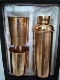 Embossed Copper Water Bottle With Glasses