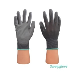 Grey Nylon Pu Palm Glove