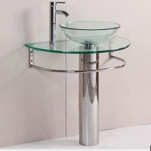 (Clear Batala Set) Glass Round Vessel/Table Top Wash Basin with Bowl, Self and Steel Stand (Clear)