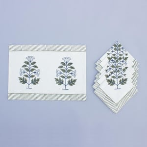 Cotton Hand Block Table Mat And Napkin
