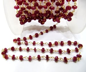 Rondelle 3-4mm Ruby Rosary Chain Beads