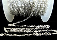 Sterling Silver White Round Cubic Zirconia 3mm Bezel Connector Chain