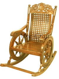 Golden Color Rocking Wooden Chair