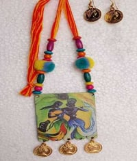 Wooden Handmade Printed Necklace