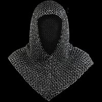 Black Oil Finish Medieval Armory Chain Mail Coif Hood