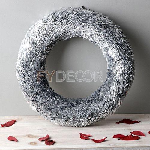 Glitter Handicraft Hanging Silver Door Christmas Wreath